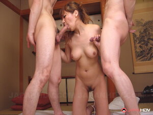 Slutty Japanese MILF sucks two cocks after anal fun with fingers and toys