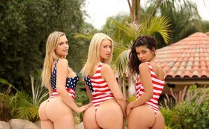 Sexy girlfriends celebrate Independence Day by arranging outdoor 3-way