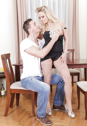 Blonde Mom i`d like to fuck has a young boyfriend who can use her tight holes anytime