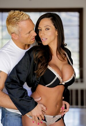 Blonde brawny guy satisfies full-bosomed Latina wife in porn images