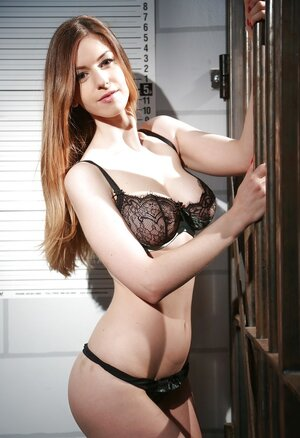 Rebellious beauty is in jail where she gladly demonstrates her tits and not only