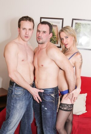 Bi-curious threesome sex episode of two boyfriends and furthermore their friend with snatch
