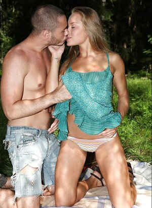 Yummy worship follows guy to the forest to have a picnic and sex as well