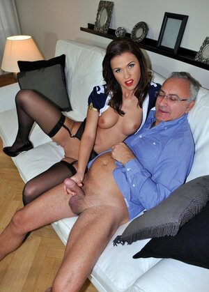 Brunette stewardess and furthermore mature gentleman have fabulous sex in completely all category of poses