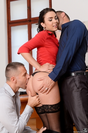 Boss and his business patner involve secretary in sex with double penetration